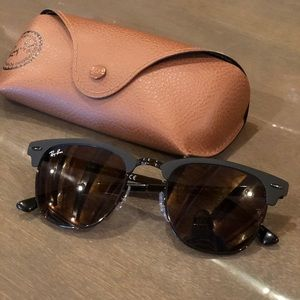 Ray-Ban Clubmaster Metal Matte Black Sunglasses